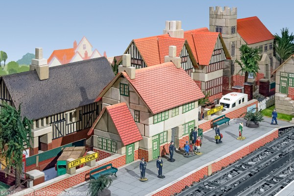 Scene of a railway station and town built with Lotts Bricks