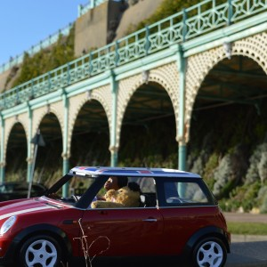 Shot of Sindy's red mini with Sooty taking a drive
